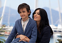 Zain Alrafeea and director Nadine Labaki at the Capharnaüm (Cafarnaúm) film photo call at the 71st Cannes Film Festival, Friday 18th May 2018, Cannes, France. Photo credit: Doreen Kennedy