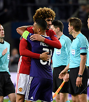 Youri Tielemans midfielder of RSC Anderlecht and   Marouane Fellaini pictured during  UEFA Europa League quarter final first leg match between Rsc Anderlecht and Manchester United 13/04/2017. <br /> Norway only