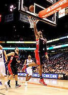 Jan. 24, 2012; Phoenix, AZ, USA; Toronto Raptors forward James Johnson (2) puts up a shot against the Phoenix Suns during the first half at the US Airways Center. Mandatory Credit: Jennifer Stewart-US PRESSWIRE.