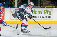 KELOWNA, CANADA - FEBRUARY 22: James Hilsendager #2 of the Kelowna Rockets passes the puck against the Edmonton Oil Kings on February 22, 2017 at Prospera Place in Kelowna, British Columbia, Canada.  (Photo by Marissa Baecker/Shoot the Breeze)  *** Local Caption ***