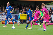 AFC Wimbledon attacker Michael Folivi (17) dribbling during the EFL Sky Bet League 1 match between AFC Wimbledon and Rochdale at the Cherry Red Records Stadium, Kingston, England on 5 October 2019.