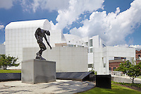 Exterior of the Richard Meier designed High Museum of Art featuring August Rodin's sculpture The Shade. ©2012 John Muggenborg / muggphoto