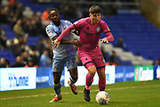 Rochdale midfielder Aaron Morley (28) battles for possession  with Coventry City defender Fankaty Dabo (23) during the EFL Sky Bet League 1 match between Coventry City and Rochdale at the Trillion Trophy Stadium, Birmingham, England on 16 November 2019.