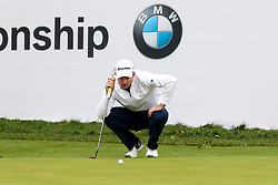 September 10, 2018 - Newtown Square, Pennsylvania, United States - Justin Rose lines up a putt on the 18th green in a one-hole playoff against Keegan Bradley during the final round of the 2018 BMW Championship. (Credit Image: © Debby Wong/ZUMA Wire)