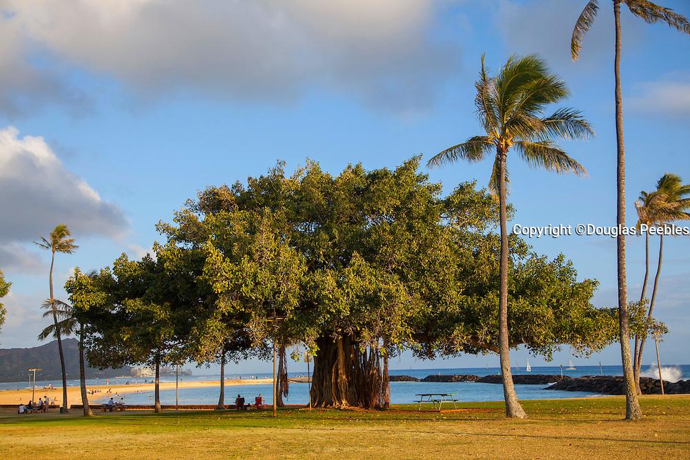 Magic Island at sunset, Ala Moana, Waikiki, Honolulu, Oahu, Hawaii