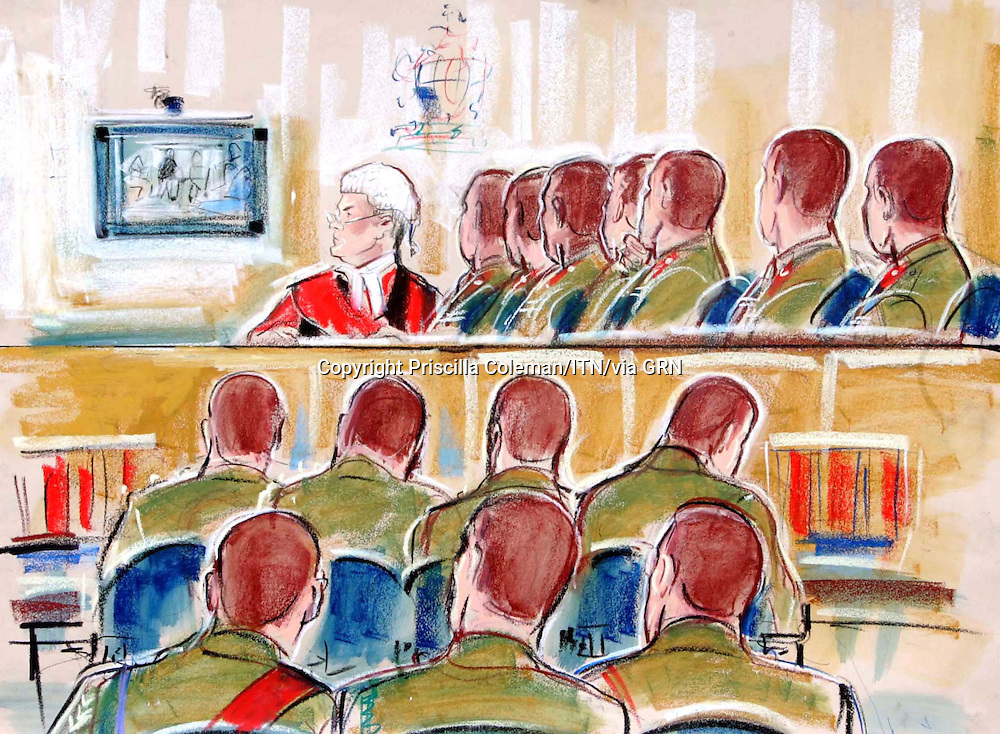 ©Priscilla Coleman ITV News.Supplied by: Photonews Service Ltd Old Bailey.Pic shows: The scene in the courtroom as the Video was shown during war crimes trial at Bulford today (20.09.06) showin treatment of prisoners..Illustration: Priscilla Coleman ITV News