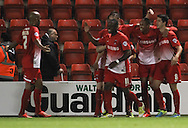 Picture by David Horn/Focus Images Ltd +44 7545 970036<br /> 17/09/2013<br /> Shaun Batt of Leyton Orient (2nd right) celebrates scoring to make it 4-1 during the Sky Bet League 1 match at the Matchroom Stadium, London.