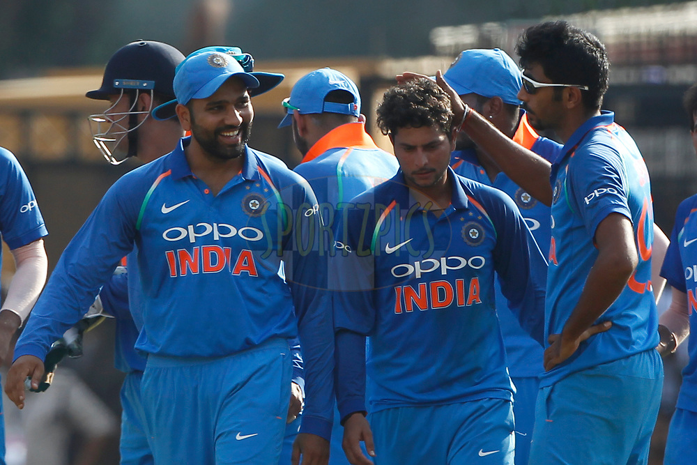 Team India players celebrates the wicket of Aaron Finch of Australia during the 3rd One Day International between India and Australia held at the Holkar Stadium in Indore on the 24th  September 2017<br /> <br /> Photo by Deepak Malik / BCCI / SPORTZPICS