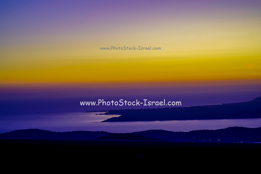 Amazing, awe inspiring Yellow blue and purple sunset. Photographed on the Island of Cephalonia, Ionian Sea, Greece