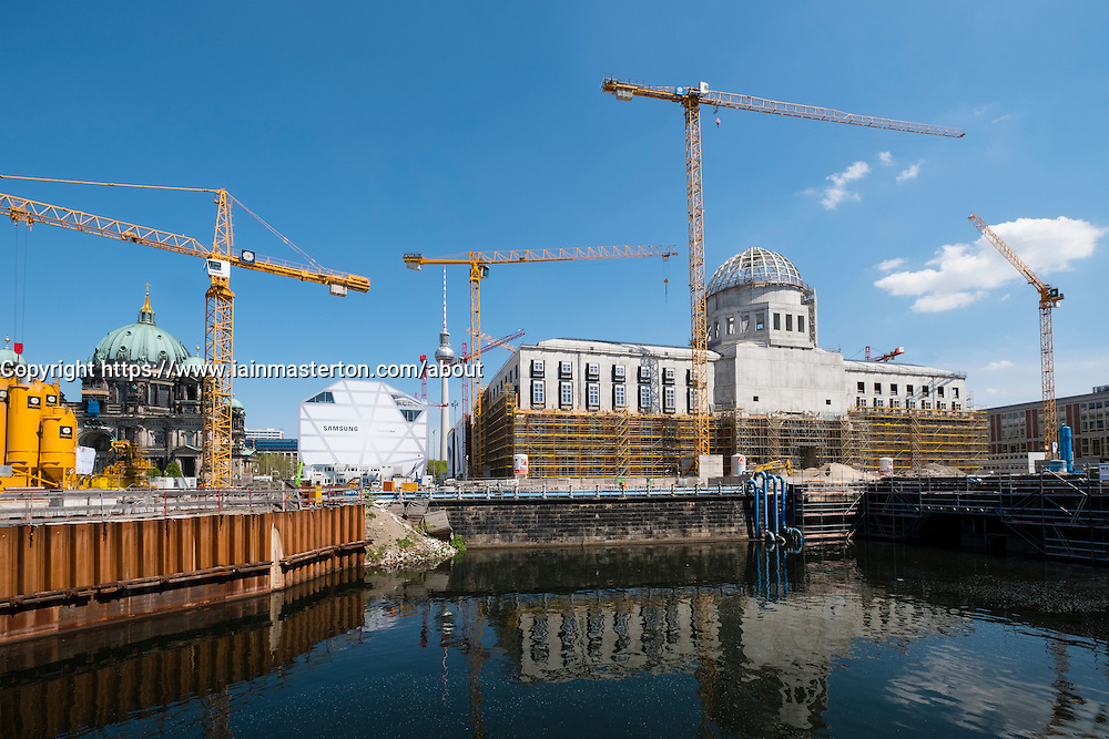 View of construction site of new Berlin palace or schloss at Mitte in Berlin Germany