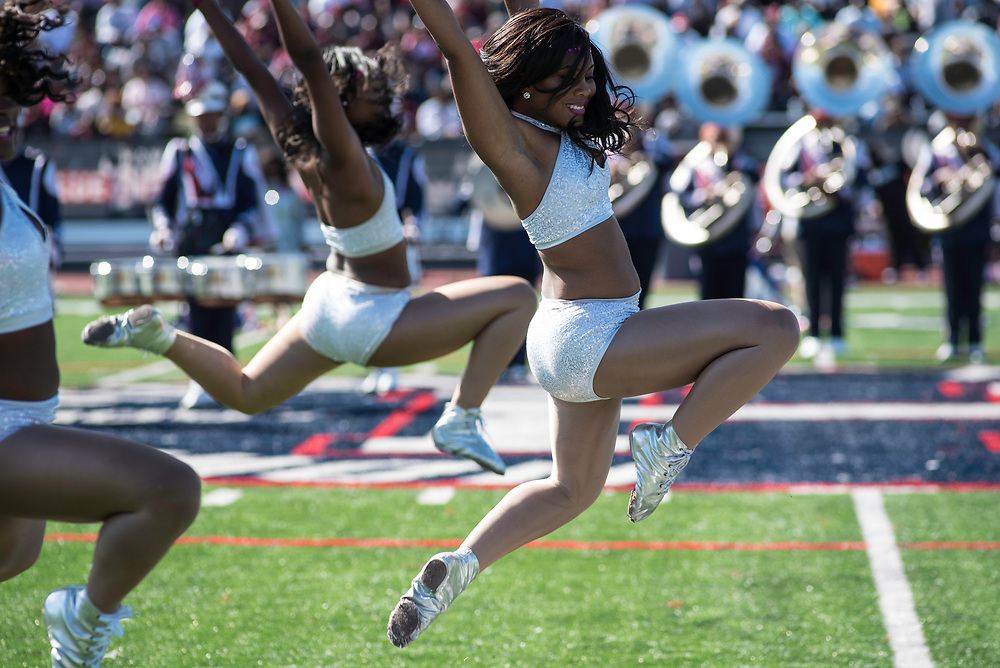 WASHINGTON,DC - October 7, 2017: Dance captain Felecia (cq) Utley leads her team during the halftime show.<br /> Howard University's Showtime Marching Band is part of a long tradition of outstanding bands at HBCU's. The band practices in the days leading up to a home game against North Carolina Central. (Andr&eacute; Chung for The Undefeated)