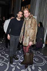 Left to right, JOSEPH MAWLE and HENRY CONWAY at a party hosted by Vauxhall Motors to celebrate their collaboration with menswear designer James Small following his Autumn/Winter 2012 show during London Fashion Week held at Corinthia Hotel, London on 22nd February 2012.
