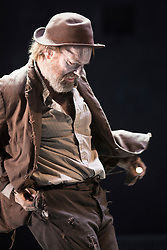 "© Licensed to London News Pictures. 05/06/2015. London, UK. Pictured: Hugo Weaving as Vladimir. Actors Richard Roxburgh and Hugo Weaving star in Samuel Beckett's ""Waiting for Godot"" at the Barbican Theatre. Part of the International Beckett Season, this Sydney Theatre Company play is directed by Andrew Upton. With Luke Mullins as Luke, Philip Quast as Pozzo, Richard Roxburgh as Estragon and Hugo Weaving as Vladimir. Performances from 4 to 13 June 2015 at the Barbican Theatre. Photo credit : Bettina Strenske/LNP"