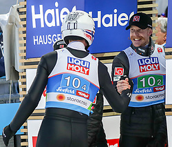 02.03.2019, Seefeld, AUT, FIS Weltmeisterschaften Ski Nordisch, Seefeld 2019, Skisprung, Mixed Team Bewerb, im Bild v.l. Andreas Stjernen (NOR), Robert Johansson (NOR) // f.l. Andreas Stjernen of Norway Robert Johansson of Norway during the mixed team competition in ski jumping of nordic combination of FIS Nordic Ski World Championships 2019. Seefeld, Austria on 2019/03/02. EXPA Pictures © 2019, PhotoCredit: EXPA/ JFK