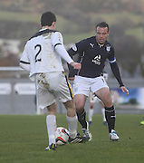 Gavin Rae closes down Paul McGinn - Dumbarton v Dundee  - SPFL Championship at the Bet Butler Stadium<br /> <br />  - &copy; David Young - www.davidyoungphoto.co.uk - email: davidyoungphoto@gmail.com