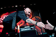 Seether performing at the Verizon Wireless Amphitheater in Noblesville, IN on the Uproar Tour on September 17, 2011