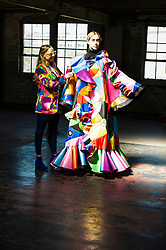 Pictured: Designer Megan Mitchell and Model Nashkai Tetteh-Lartey<br /> Cowboys, falconry and gang culture provided some of the inspiration for University of Edinburgh fashion students, whose work will be displayed between May 18 and 20 this year<br /> <br /> Ger Harley | EEm 19 April 2016