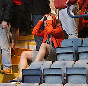 Despair for Dundee United fans as their team are relegated at the home of their local rivals Dens Park  - Dundee v Dundee United, Ladbrokes Scottish Premiership at Dens Park<br /> <br /> <br />  - &copy; David Young - www.davidyoungphoto.co.uk - email: davidyoungphoto@gmail.com