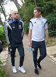 HAIFA, ISRAEL - Saturday, March 28, 2015: Wales' David Cotterill and Simon Church on a team walk ahead of the UEFA Euro 2016 qualifying Group B match against Israel. (Pic by David Rawcliffe/Propaganda)