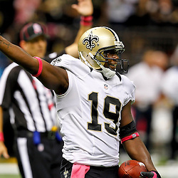 October 7, 2012; New Orleans, LA, USA; New Orleans Saints wide receiver Devery Henderson (19) signals a first down after a catch against the San Diego Chargers during the second half of a game at the Mercedes-Benz Superdome. The Saints defeated the Chargers 31-24. Mandatory Credit: Derick E. Hingle-US PRESSWIRE