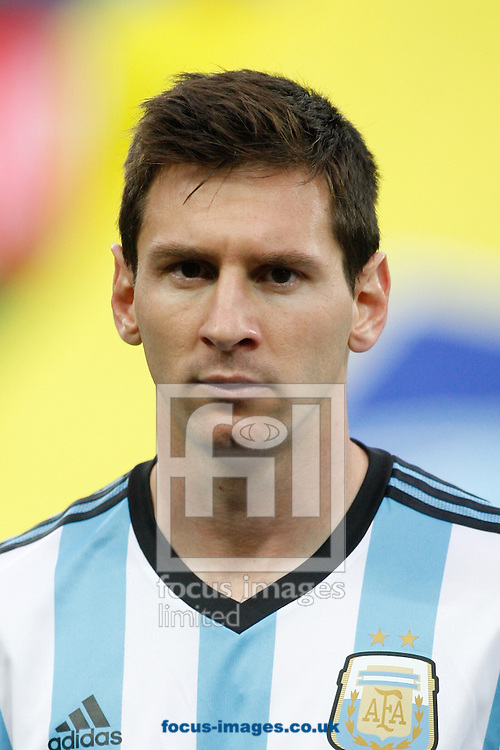 Lionel Messi (captain) of Argentina during the 2014 FIFA World Cup match at Arena Corinthians, Sao Paulo<br /> Picture by Andrew Tobin/Focus Images Ltd +44 7710 761829<br /> 09/07/2014