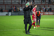 Forest Green Rovers head coach, Mark Cooper applauds the fans at the end of the match during the EFL Sky Bet League 2 match between Morecambe and Forest Green Rovers at the Globe Arena, Morecambe, England on 22 October 2019.