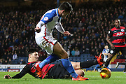 Clint Hill challenges during the Sky Bet Championship match between Blackburn Rovers and Queens Park Rangers at Ewood Park, Blackburn, England on 12 January 2016. Photo by Pete Burns.