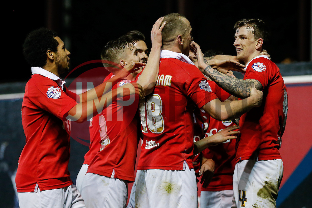 Aden Flint of Bristol City (R) celebrates scoring a goal to make it 2-0 - Photo mandatory by-line: Rogan Thomson/JMP - 07966 386802 - 17/03/2015 - SPORT - FOOTBALL - Bristol, England - Ashton Gate Stadium - Bristol City v Crewe Alexandra - Sky Bet League 1.