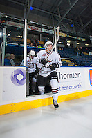 KELOWNA, CANADA - NOVEMBER 6: Nick Charif #3 of the Red Deer Rebels enters the ice at warm up against the Kelowna Rockets on NOVEMBER 6, 2013 at Prospera Place in Kelowna, British Columbia, Canada.   (Photo by Marissa Baecker/Shoot the Breeze)  ***  Local Caption  ***
