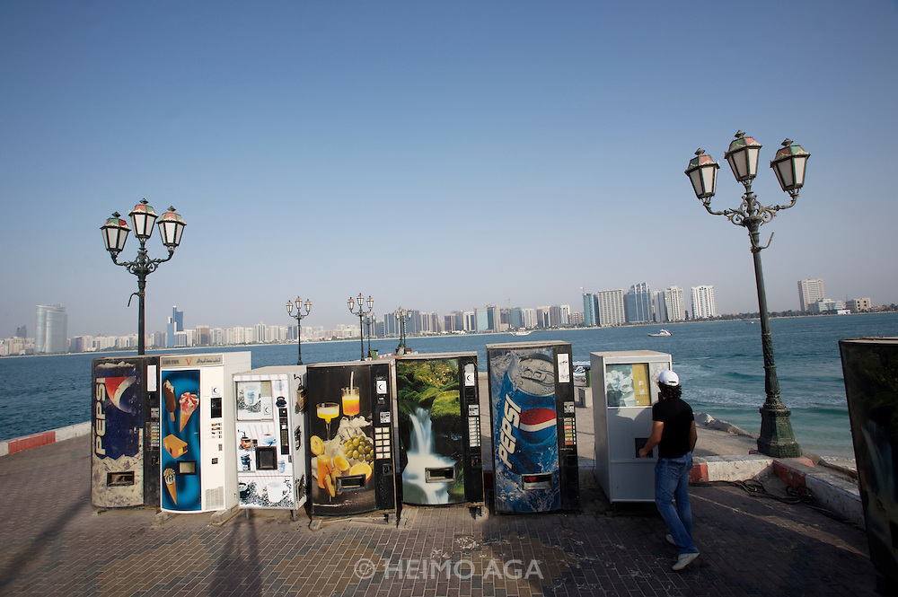 Panoramic view of the Corniche from the Breakwater. Beverage dispensers.