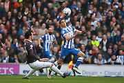 Brighton striker Anthony Knockaert gets the better of Derby County midfielder George Thorne during the Sky Bet Championship match between Brighton and Hove Albion and Derby County at the American Express Community Stadium, Brighton and Hove, England on 2 May 2016. Photo by Bennett Dean.