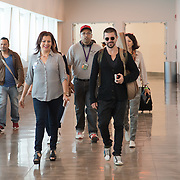 Juanes,(Juan Esteban Aristizabal) on the Cross Border Xpress pedestrian bridge from Tijuana to US. He is arrving for the Rise Up As One concert