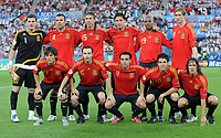 Fotball<br /> Euro 2008<br /> Finale<br /> Tyskland v Spania 0-1<br /> 29.06.2008<br /> Foto: Witters/Digitalsport<br /> NORWAY ONLY<br /> <br /> Team Spanien hinten v.l. Torwart Iker Casillas, Carlos Marchena, Sergio Ramos, Joan Capdevilla, Marcos Senna, Fernando Torres, vorne v.l. David Silva, Andres Iniesta, Xavi Hernandez, Cesc Fabregas, Carles Puyol                         <br /> EURO 2008 Finale Deutschland - Spanien 0:1<br /> <br /> Lagbilde Spania
