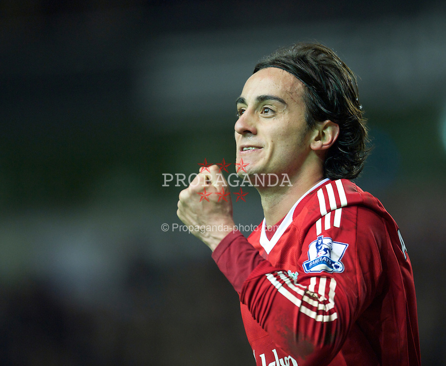 LIVERPOOL, ENGLAND - Monday, March 15, 2010: Liverpool's Alberto Aquilani celebrates scoring his first goal for the club; his side's third against Portsmouth during the Premiership match at Anfield. (Photo by: David Rawcliffe/Propaganda)
