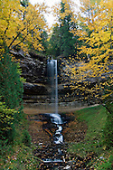 Munising Falls with fall color at Pictured Rocks National Lakeshore in Munising Michigan.