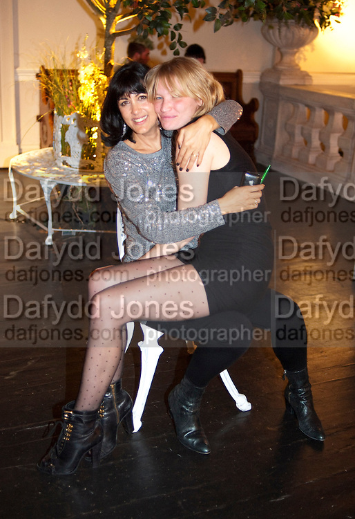 POLLY SAMSON; SARA GILMOUR, Party for Perfect Lives by Polly Sampson. The 20th Century Theatre. Westbourne Gro. London W11. 2 November 2010. -DO NOT ARCHIVE-© Copyright Photograph by Dafydd Jones. 248 Clapham Rd. London SW9 0PZ. Tel 0207 820 0771. www.dafjones.com.