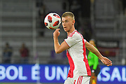 Ajax midefielder Daley Sinkgraven (8) goes up for a ball during a Florida Cup match against Flamengo at Orlando City Stadium on Jan. 10, 2019 in Orlando, Florida. <br /> <br /> ©2019 Scott A. Miller