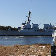 3/6/12 -- GEORGETOWN, Maine.  U.S. Navy Destroyer Michael Murphy, built by Bath Iron Works passes by Doubling Point in Georgetown on Tuesday morning on the way out to sea trials. She is scheduled to be return on Friday morning at the top of the tide, about 11:00 a.m. Photo by Roger S. Duncan.