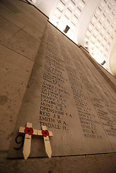 Two crosses placed amongst the names inscribed at the Menin Gate in Ypres, Belgium, Sunday, 10th November 2013 , where the Duke of Edinburgh will attend a Last Post ceremony  to mark the gathering of soil from Flanders Fields for a memorial garden at the Guards Museum in London, on Armistice Day tomorrow (Monday 11th November)  Picture by Stephen Lock / i-Images