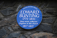 Ulster History Circle Blue Plaque to Edward Bunting, 1773-1843, at St George's Church of Ireland, High Street, Belfast, N Ireland, UK. Bunting was the organist at St George's 1817-1819. 200903172028.<br />