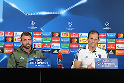 September 26, 2017 - Turin, Piedmont, Italy - Massimiliano Allegri and Andrea Barzagli during the Juventus FC press conference on the eve of  the UEFA Champions League (Group D) match between Juventus FC and Olympiakos FC  at Allianz Stadium on 26 September, 2017 in Turin, Italy. (Credit Image: © Massimiliano Ferraro/NurPhoto via ZUMA Press)