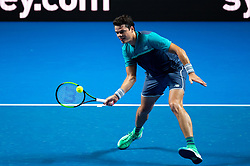 January 7, 2019 - Sydney, NSW, U.S. - SYDNEY, AUSTRALIA - JANUARY 07: Milos Raonic (CAN) hits a forehand at The Sydney FAST4 Tennis Showdown on January 07, 2018, at Qudos Bank Arena in Homebush, Australia. (Photo by Speed Media/Icon Sportswire) (Credit Image: © Steven Markham/Icon SMI via ZUMA Press)