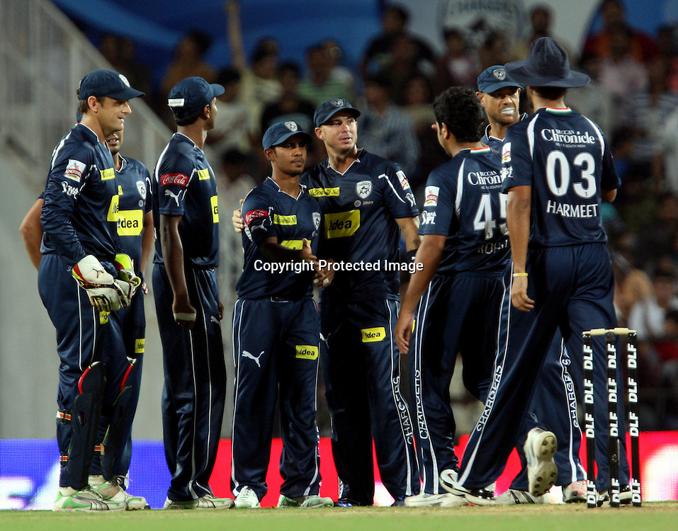 Deccan Chargers Player Bodapati Sumanth Celeberates Rahul Dravid Catch During The Indian Premier League - 46th match Twenty20 match | 2009/10 season Played at Vidarbha Cricket Association Stadium, Jamtha, Nagpur 12 April 2010 - day/night (20-over match)