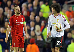 LIVERPOOL, ENGLAND - Thursday, March 10, 2016: Liverpool's captain Jordan Henderson and Manchester United's Marouane Fellaini during the UEFA Europa League Round of 16 1st Leg match at Anfield. (Pic by David Rawcliffe/Propaganda)