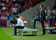 A dejected Joachim Low reflects after Mario Balotelli scores his team's second goal during the UEFA EURO 2012 semi final match between Germany and Italy at the National Stadium on June 28, 2012 in Warsaw, Poland.