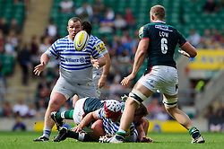 Saracens Prop (#3) Matt Stevens in action during the second half of the match - Photo mandatory by-line: Rogan Thomson/JMP - Tel: Mobile: 07966 386802 07/09/2013 - SPORT - RUGBY UNION - Twickenham Stadium - London Irish v Saracens - Aviva Premiership - London Double Header.