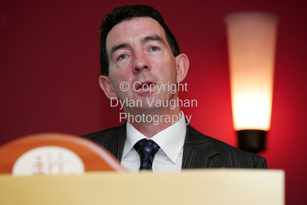 6/10/2006.Free picture no charge for use.Bobby O' Keeffe, O' Keeffe Financial pictured addressing delegates at the Waterford Chamber's conference on pension planning.  Speakers cited cost, inertia and the fact that Irish people have no concept of their financial future as key reasons as to why 56% of self employed people are without a pension plan..Picture Dylan Vaughan