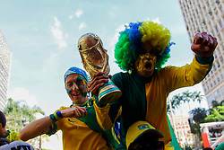 July 2, 2018 - SãO Paulo, Brazil - SÃO PAULO, SP - 02.07.2018: ARENA EM SP TRANSMITE JOGO DO BRASIL - Fans celebrate qualifying for the quarterfinals of the Brazilian team at the Arena set up in the Anhangabaú Valley, in the central region of the city of São Paulo, where the game is transmitted to the squad for the 2018 World Cup, between Brazil and Mexico, this Monday (02) (Credit Image: © Aloisio Mauricio/Fotoarena via ZUMA Press)