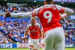 Pierre-Emerick Aubameyang of Arsenal celebrates scoring his sides second goal of the game with Alexandre Lacazette of Arsenal  - Mandatory by-line: Ryan Hiscott/JMP - 02/09/2018 -  FOOTBALL - Cardiff City Stadium - Cardiff, Wales -  Cardiff City v Arsenal - Premier League