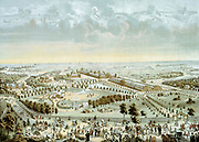 International Exposition of 1876 at Philadelphia, Pennslvania, USA. The large buildings in centre right of picture are the Machinery Halls. History of USA is represented above clouds with, l.to r.: Arrival of Columbus, Penn trading with natives, War of Independence, George Washington, Civil War, White House